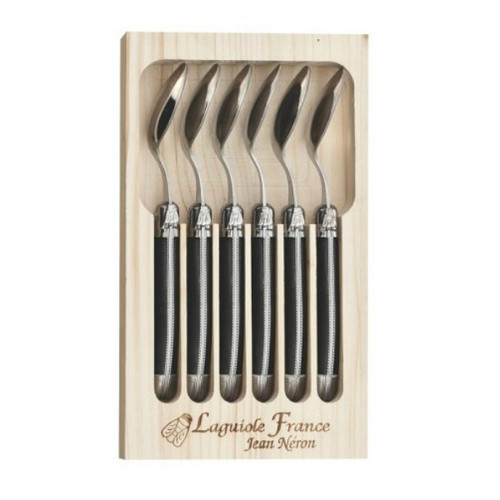 Laguiole 6 Piece Teaspoon Set by Jean Neron - Black 6 stainless steel coffee or teaspoons with black handles, presented in a wooden crate