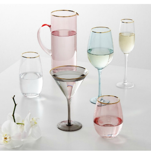 Ladelle Chloe Clear Gold Champagne Glass Set Of 4 - showing the set of Chloe glass ware in clear and tints.