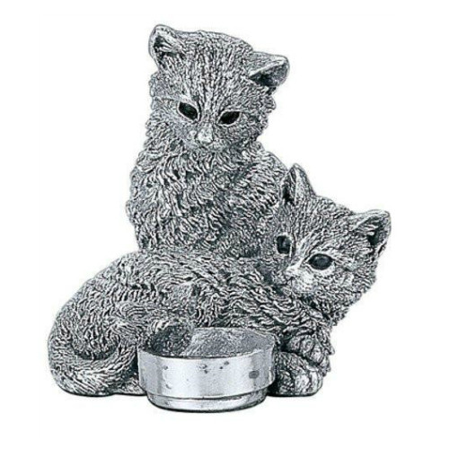 Comyns Sterling Silver:  Kittens with Robin - 7 cm