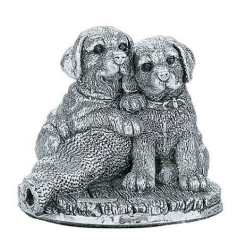 Comyns Sterling Silver:  Filled Dog Figurine - Labrador Puppies 4 cm