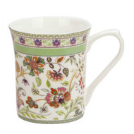 Queens Antique Green Floral Fine Bone China Mug by Churchill - gift boxed