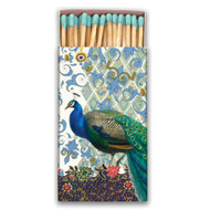Peacock Matchbox by Michel Design Works - approx 50 matches in designer matchbox - aqua colour heads.