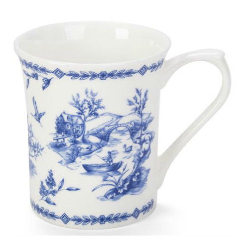 Queens Blue Story Toile Blue Fine Bone China Mug by Churchill - gift boxed