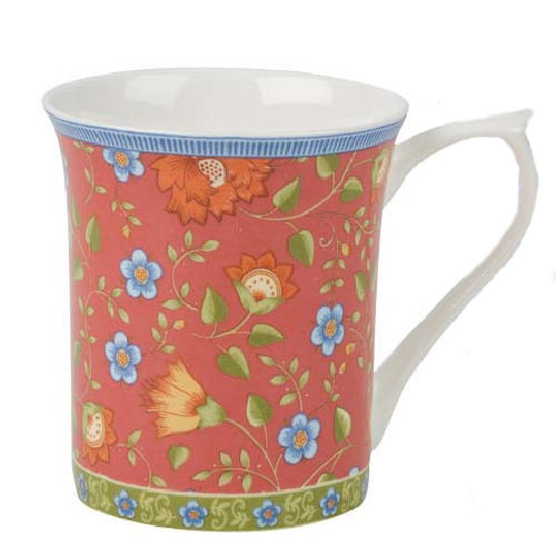 Red Trailing Blooms Queens Royale Fine Bone China Mug by Churchhill - gift boxed