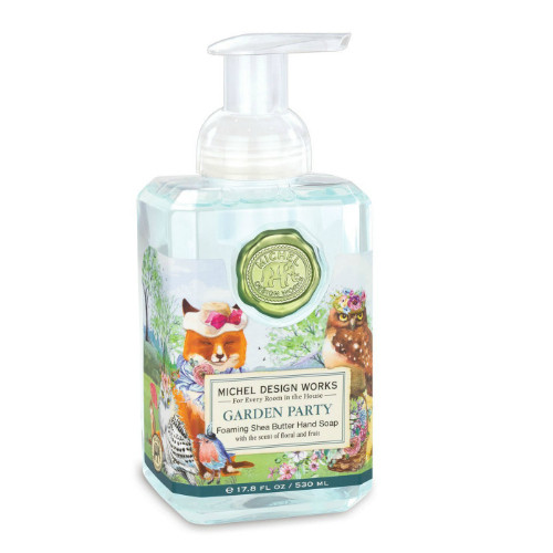 Garden Party Foaming Hand Soap by Michel Design Works 530ml pump bottle of hand wash, with designer label of woodland animals having a party