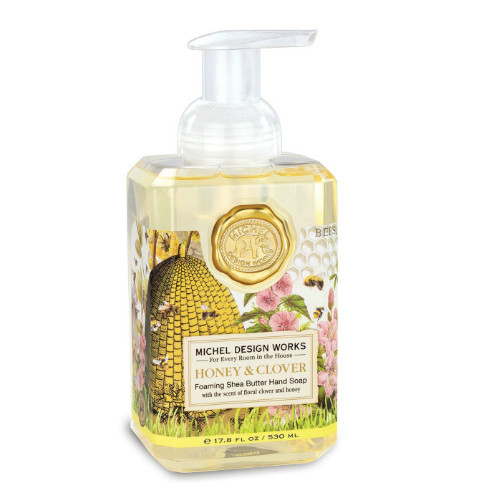 Honey and Clover Foaming Hand Soap by Michel Design Works 530 ml pump bottle of hand wash with label design of bee hive, bees and clover