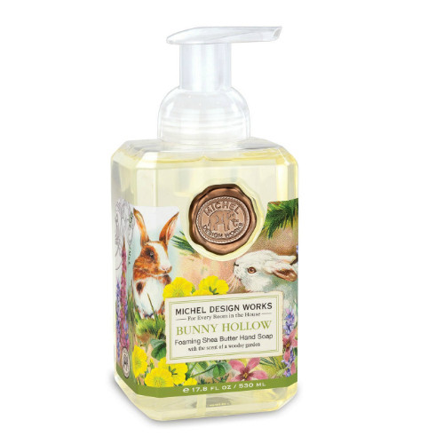 Bunny Hollow Foaming Hand Soap by Michel Design Works 530 ml pump bottle of hand wash with designer label of bunny and flowers