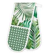 Palm Breeze Double Oven Glove by Michel Design Works  100% thick cotton green fronds design double handed oven glove