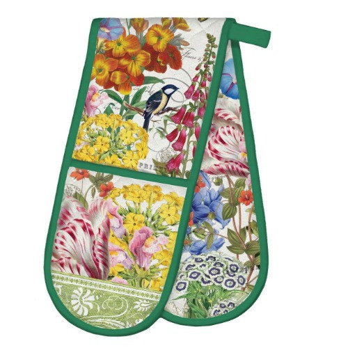 Summer Days Double Oven Glove by Michel Design Works thick quilted double handed oven glove with colourful design of flowers and birds.