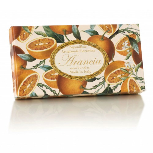 Saponificio Artigianale Fiorentino Orange Soap Set - 3 x 125g sculptured Italian soaps packed into a gift box