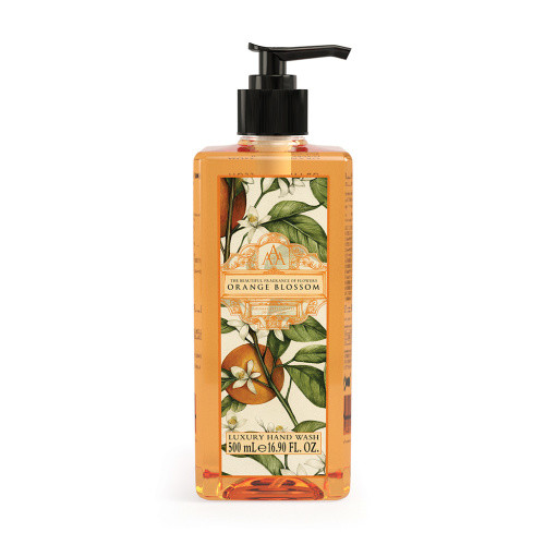 Orange Blossom Hand Wash Soap AAA -  Artesanales de Antigua Aromatherapy 500 ml of hand wash in a plastic pump bottle with orange blossom on label