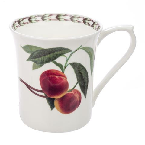 Queens William Hookers Fruit Mug Peach by Churchill - Fine Bone China Gift Boxed