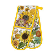 Sunflower Double Oven Glove by Michel Design Works thick double handed quilted oven glove with bright sunflower design