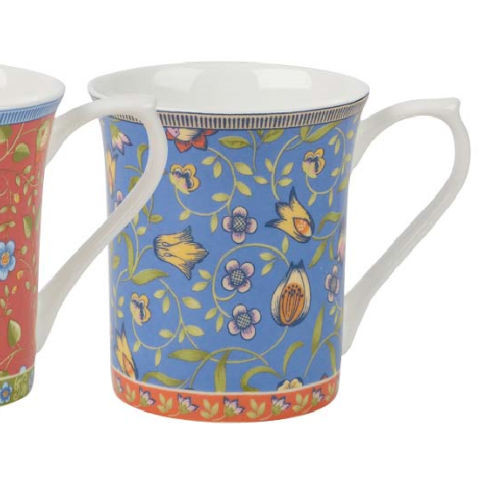 Blue Trailing Blooms Queens Royale Fine Bone China Mug by Churchill - gift boxed