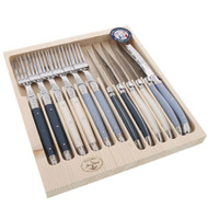 Laguiole Jean Dubost Maison Atelier 12 piece Steak Knife and Fork Set - Mixed blue and white coloured handles