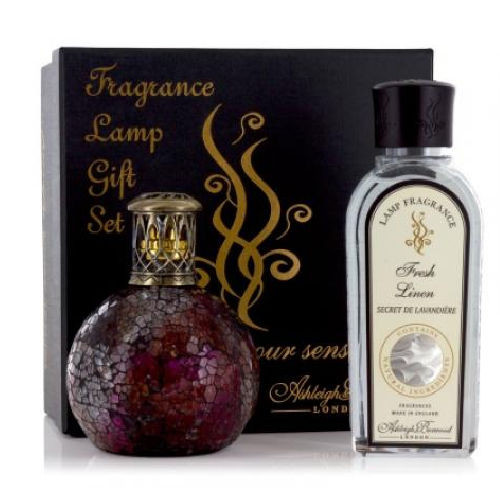Ashleigh and Burwood Lamp and Oil Small Gift Set Rosebud and Fresh Linen