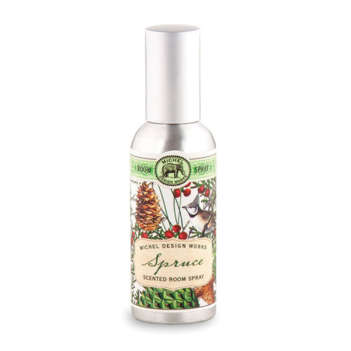 Spruce Home Fragrance Spray by Michel Design Works - metal canister for spray fragrance with design of spruce tree on label