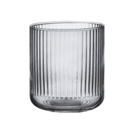 Zephyr Ribbed Charcoal Glass Tumbler by Ladelle