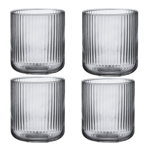 Zephyr Ribbed Charcoal Glass Tumbler by Ladelle set of 4