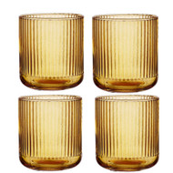 Zephyr Ribbed Amber Glass Tumbler by Ladelle set of 4
