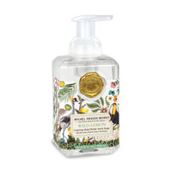 Wild Lemon Foaming Hand Soap by Michel Design Works 530ml of foaming soap liquid in a designer pump bottle with a colorful and whimsical take on wild flora and fauna with accents of leopard prints