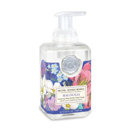 Magnolia Foaming Hand Soap by Michel Design Works (2021 design) 530ml of foaming soap liquid in a designer pump bottle with blue background and pink and white flowers