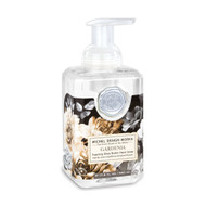 Gardenia Foaming Hand Soap by Michel Design Works 530ml of foaming soap liquid in a designer pump bottle with sepia tones mixed with black and white