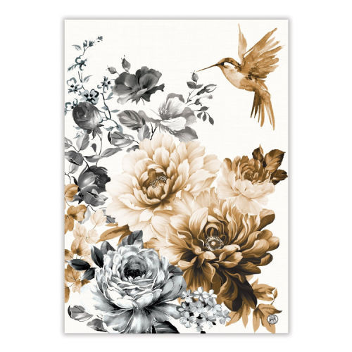Gardenia Tea Towel by Michel Design Works 100% cotton tea towel with design of black, white and sepia flowers and bird.
