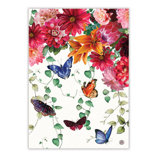 Sweet Floral Melody Tea Towel by Michel Design Works 100% cotton tea towel with design of butterflies and flowers