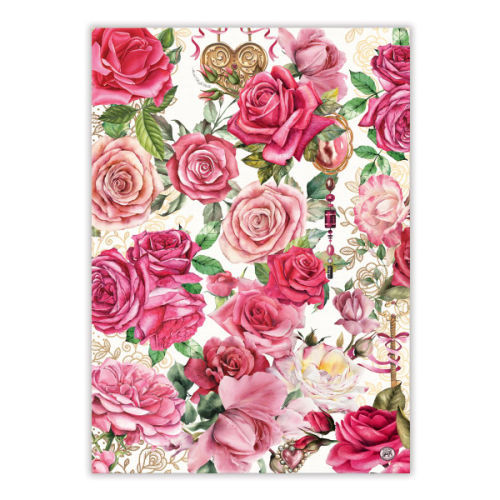 Tea towel Royal Rose Michel Design Works 100% cotton tea towel with design of roses and royal jems