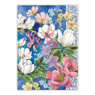 Magnolia Tea Towel by Michel Design Works 100% cotton tea towel with blue background and painted flow
