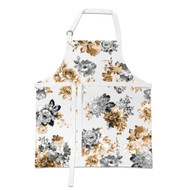 Gardenia Apron by Michel Design Works apron with floral black, white and sepia tones
