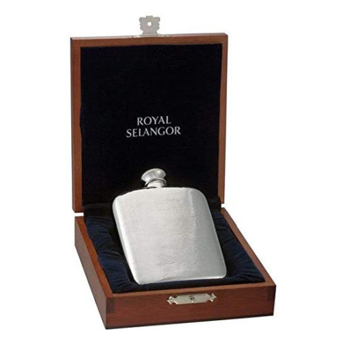 Hipflask Leather print in gift box by Royal Selangor - 140 ml