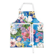 Magnolia Apron by Michel Design Works apron with blue background and pretty flowers