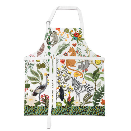 Wild Lemon Apron by Michel Design Works apron with design of wild animals and leopard print