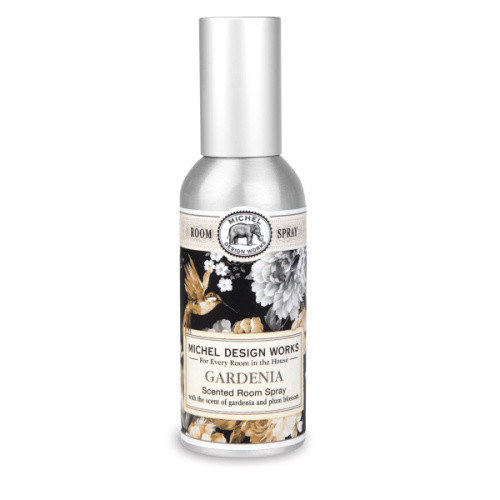 Gardenia Home Fragrance Spray by Michel Design Works metal canister room spray with design of black, gold and sepia