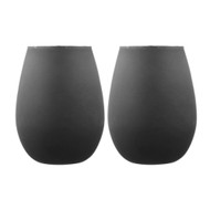 Tempa Aurora Matte Black 2 pk Glass Tumbler by Ladelle set of 2 black tumblers