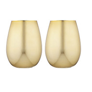 Tempa Aurora Gold 2 pk Glass Tumbler by Ladelle