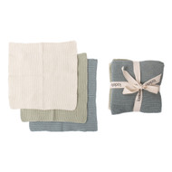 Ladelle Eco Knitted Sage 27x27cm 3pk Dishcloth