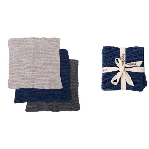 Ladelle Eco Knitted Navy 27x27cm 3pk Dishcloth (OR Baby's soft washcloth) 3 knitted cloths