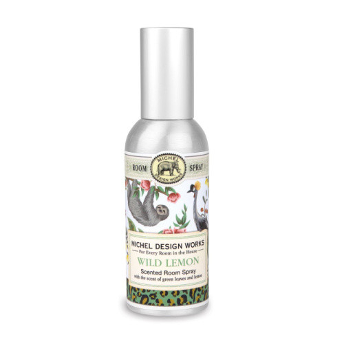 Wild Lemon Home Fragrance Spray by Michel Design Works metal canister room spray with designer label of animals and prints