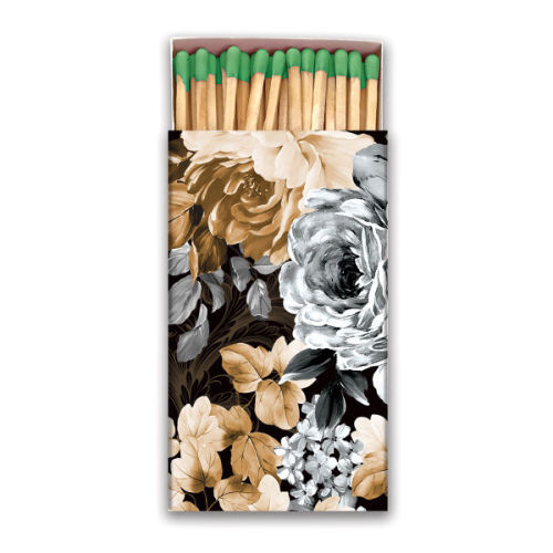 Gardenia Matchbox 50 matches with coloured tips in a black, white and sepia design matchbox
