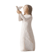 Willow Tree Figurine - Soar a resin figure of a girl with uplifted hands holding a dove