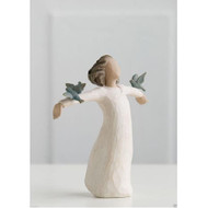 Willow Tree Figurine - Happiness by Susan Lordi 26130 a resin figurine of a girl with outstretched arms and 2 birds on them