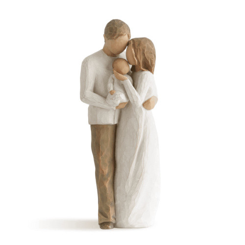 Willow Tree Figurine - Our Gift by Susan Lordi 26181 a resin figurine of a couple with a new child