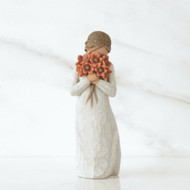 Willow Tree Figurine - Surrounded by love by Susan Lordi 26233 a resin figurine of a girl holding flowers