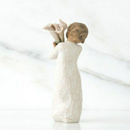 Willow Tree Figurine - Beautiful Wishes by Susan Lordi 26246 a resin figure of a young girl with a bunch of Calla lilies - back view