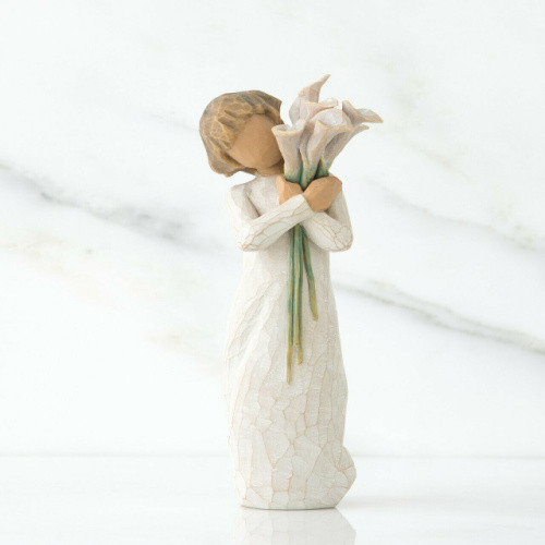Willow Tree Figurine - Beautiful Wishes by Susan Lordi 26246 a resin figure of a young girl with a bunch of Calla lilies