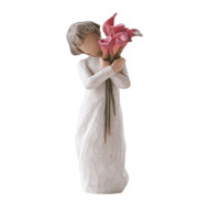 Willow Tree Figurine - Bloom by Susan Lordi 27159 resin figure of a young girl holding pink calla lilies