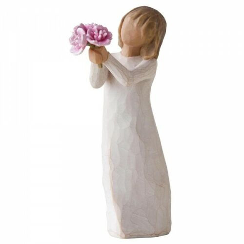 Willow Tree Figurine - Thank You by Susan Lordi 27267 resin figure of a young girl holding pink flowers